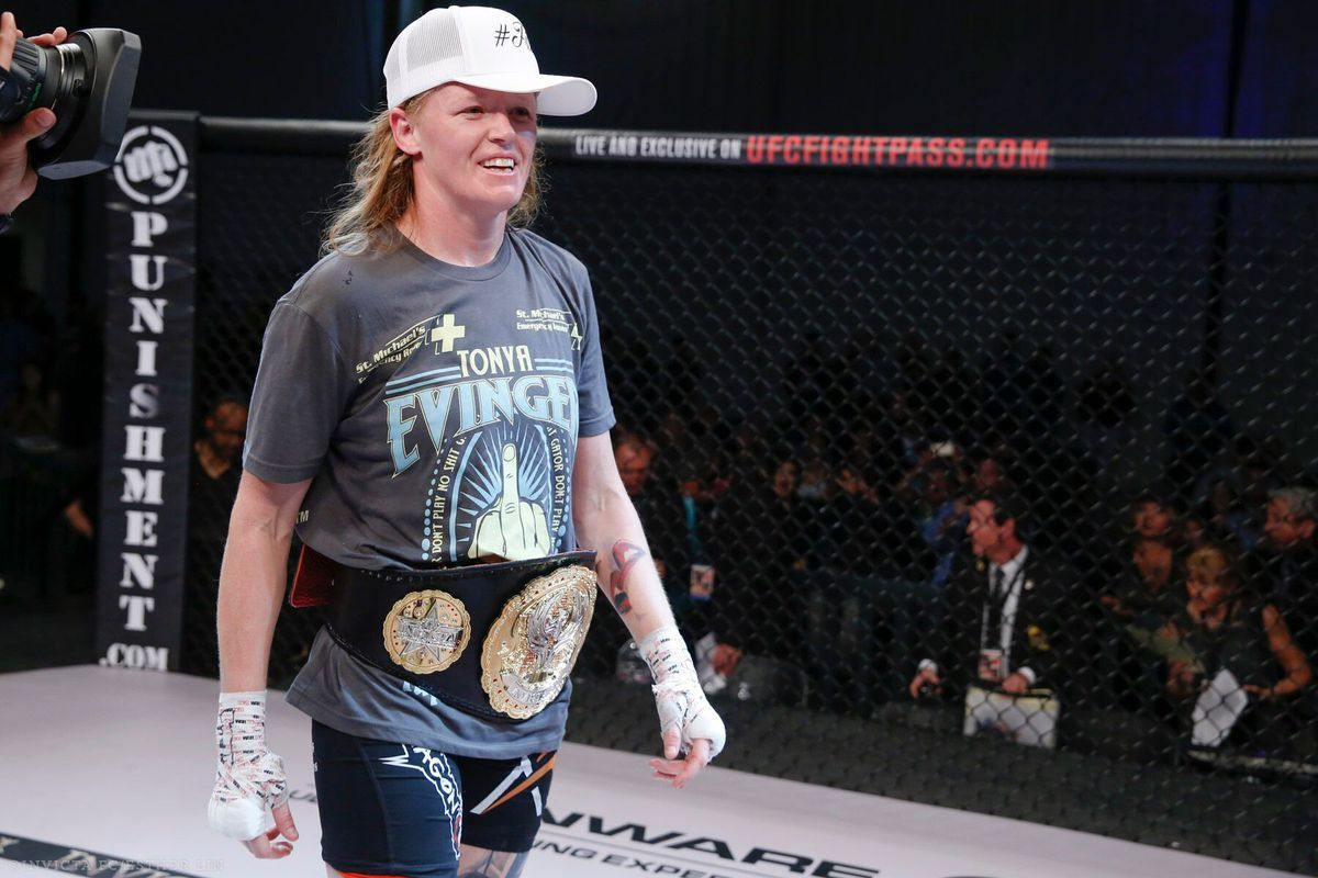 Tonya Evinger after her win on Saturday night.