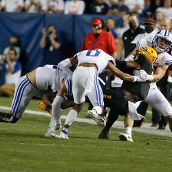 BYU and Arizona State compete during an NCAA college football game at LaVell Edwards Stadium in Provo on Saturday, Sept. 18, 2021.
