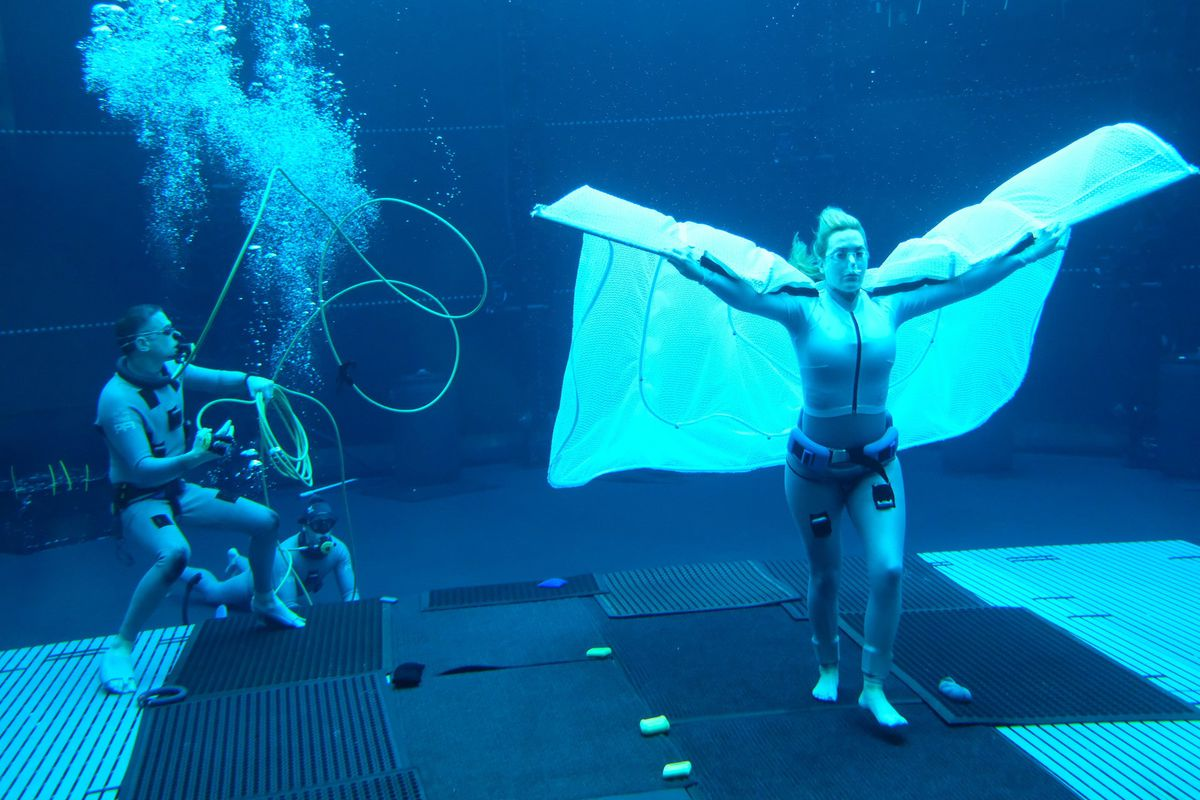 Kate Winslet wearing an underwater cape while filming Avatar 2