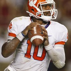 Clemson quarterback Tajh Boyd looks for a receiver during the second quarter of an NCAA college football game against Florida State on Saturday, Sept. 22, 2012, in Tallahassee, Fla.