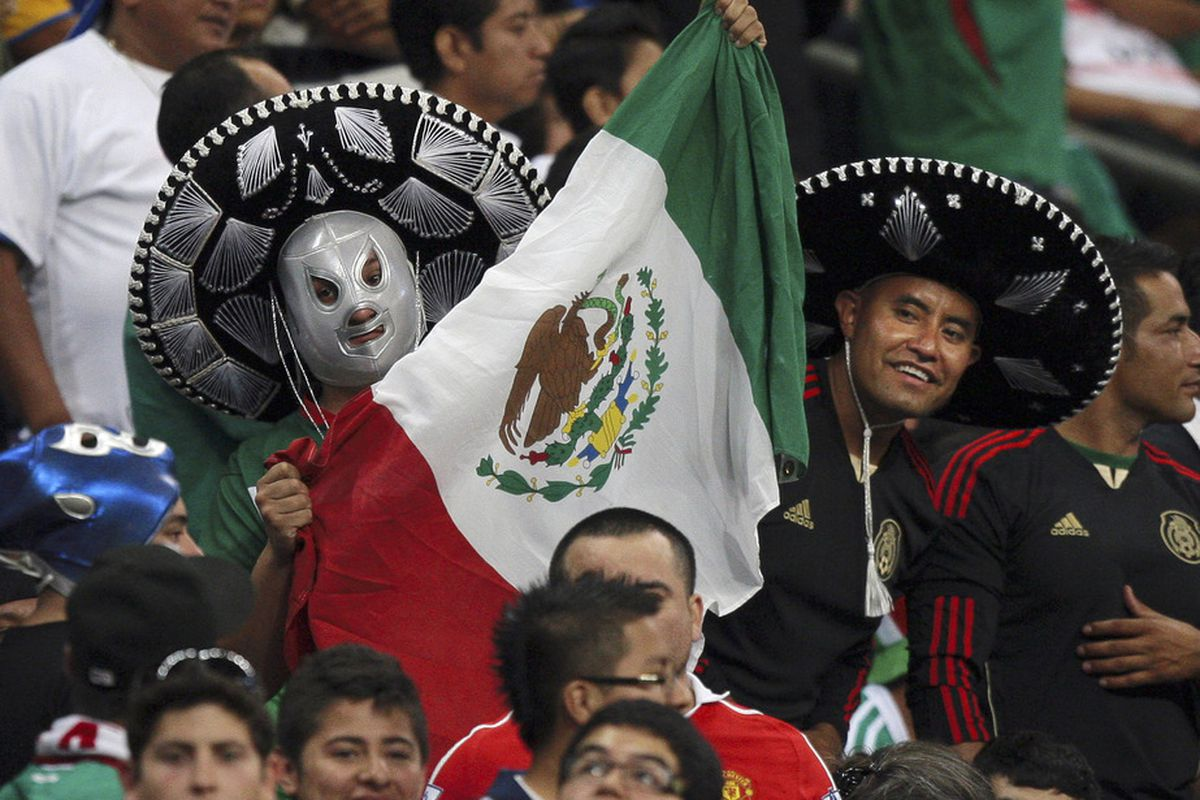 HOUSTON, TX - JUNE 22:  Mexcio fans cheer on their team during a match against Honduras> at Reliant Stadium on June 22, 2011 in Houston, Texas.  (Photo by Bob Levey/Getty Images)