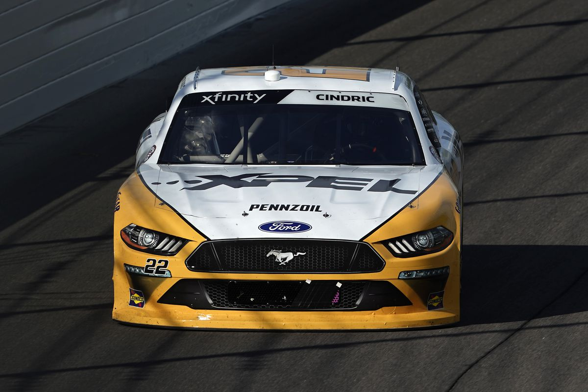 Austin Cindric, driver of the #22 XPEL Ford, drives during the NASCAR Xfinity Series Kansas Lottery 250 at Kansas Speedway on July 25, 2020 in Kansas City, Kansas.