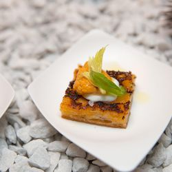 Uni toast with robiolina and jalapeno from General Assembly Restaurant & Bar
