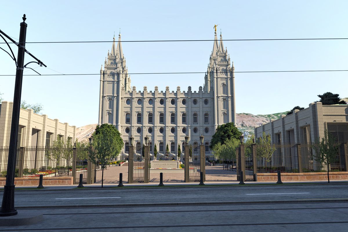 Rendering of the Salt Lake Temple's south side at street level.