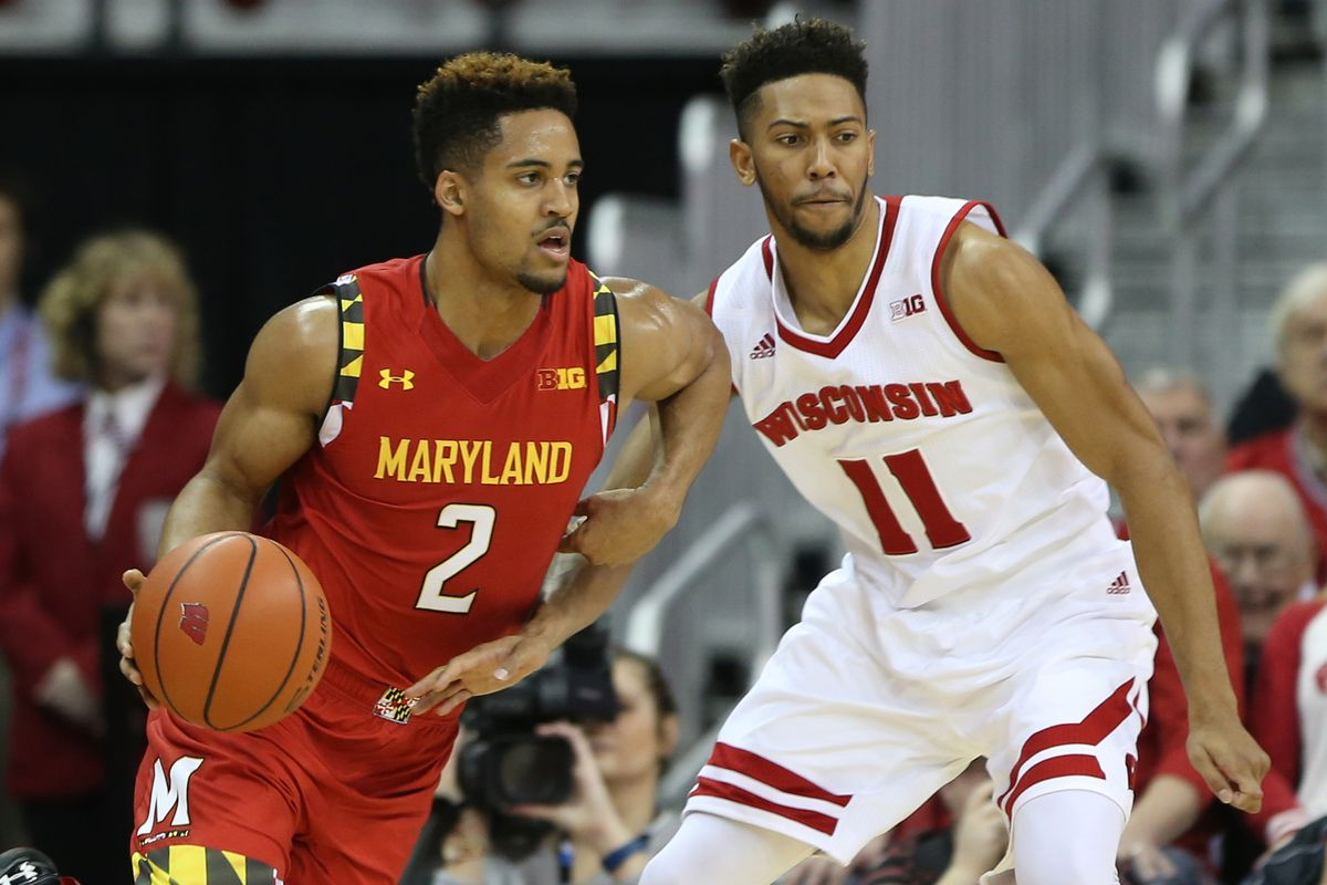 Maryland's Melo Trimble and Wisconsin's Jordan Hill