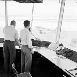The Salt Lake International Airport radio control tower is pictured in Jan. 24,1951.