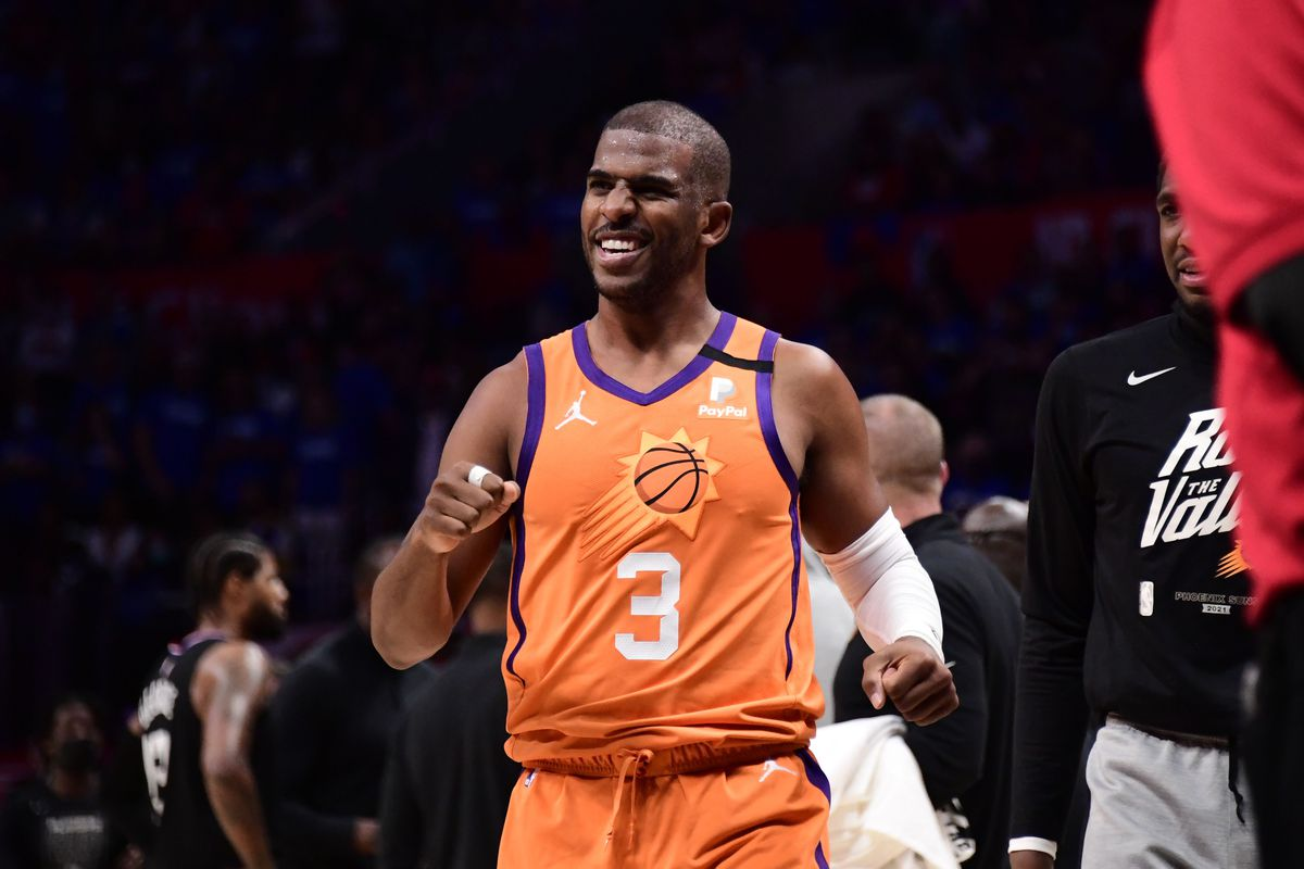 Chris Paul of the Phoenix Suns smiles during Game 6 of the Western Conference Finals of the 2021 NBA Playoffs on June 30, 2021 at STAPLES Center in Los Angeles, California.
