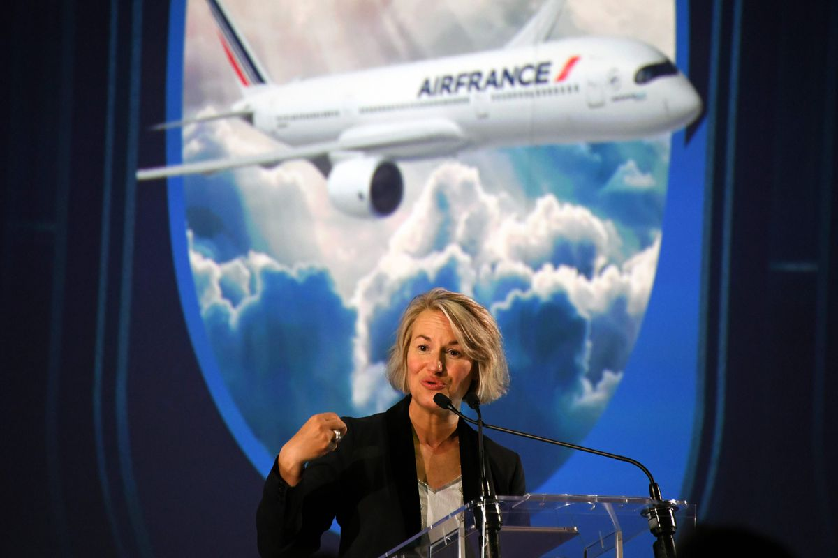 Chief Executive Officer Air France Anne Rigail speaks during the ceremony for the delivery of the company's first Airbus A350, on September 27, 2019 at the Airbus delivery center in Colomiers, southwestern France