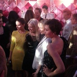 """Kate Mara, Michelle Williams and Maggie Gyllenhaal post with Young. Photo via <a href=""""http://instagram.com/p/X7oGlMG3dc/"""">UniqueJohn</a>/Instagram."""