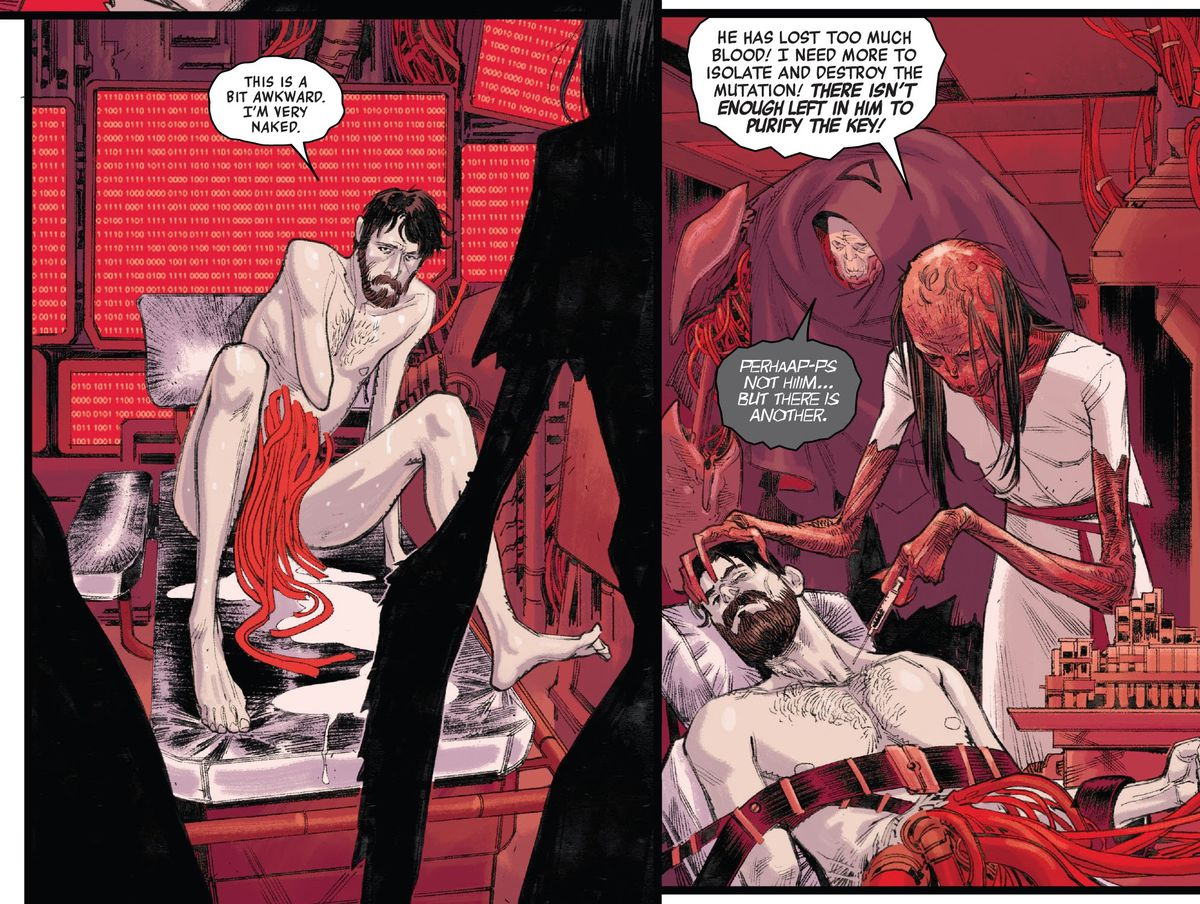 """""""This is a bit awkward. I'm very naked,"""" says Peter Parker. He is indeed naked, emaciated, with a coil of dozens of red tubes connected somehow to his belly, as he is operated on by the spindly-limbed, scale-skinned spider-human hybrid, in Spider-Man #4, Marvel Comics (2020)."""