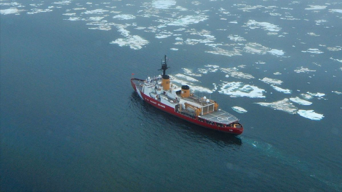 The Coast Guard Cutter Polar Star transits near the beginning of the ice edge in the Chukchi Sea north of Wainwright, Alaska, Tuesday, July 16, 2013. (Coast Guard News/Flickr)