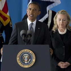 President Barack Obama, accompanied by Secretary of State Hillary Rodham Clinton, speaks during a Transfer of Remains Ceremony, Friday, Sept. 14, 2012, at Andrews Air Force Base, Md., marking the return to the United States of the remains of the four Americans killed this week in Benghazi, Libya.