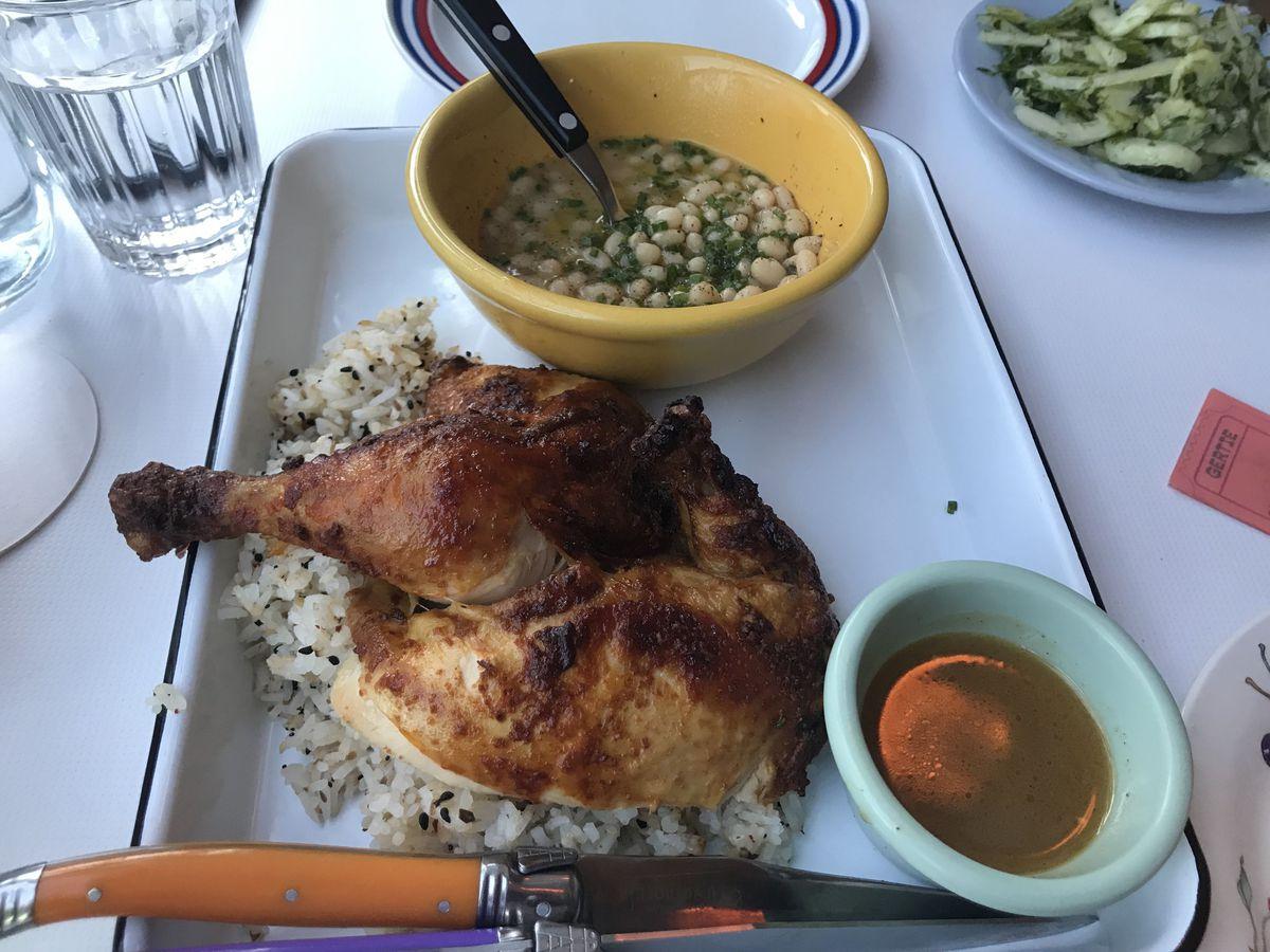 Rotisserie chicken dinner at Gertie