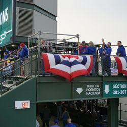 One of the temporary platforms being used by the media, in the bleachers. This one is on the left field porch