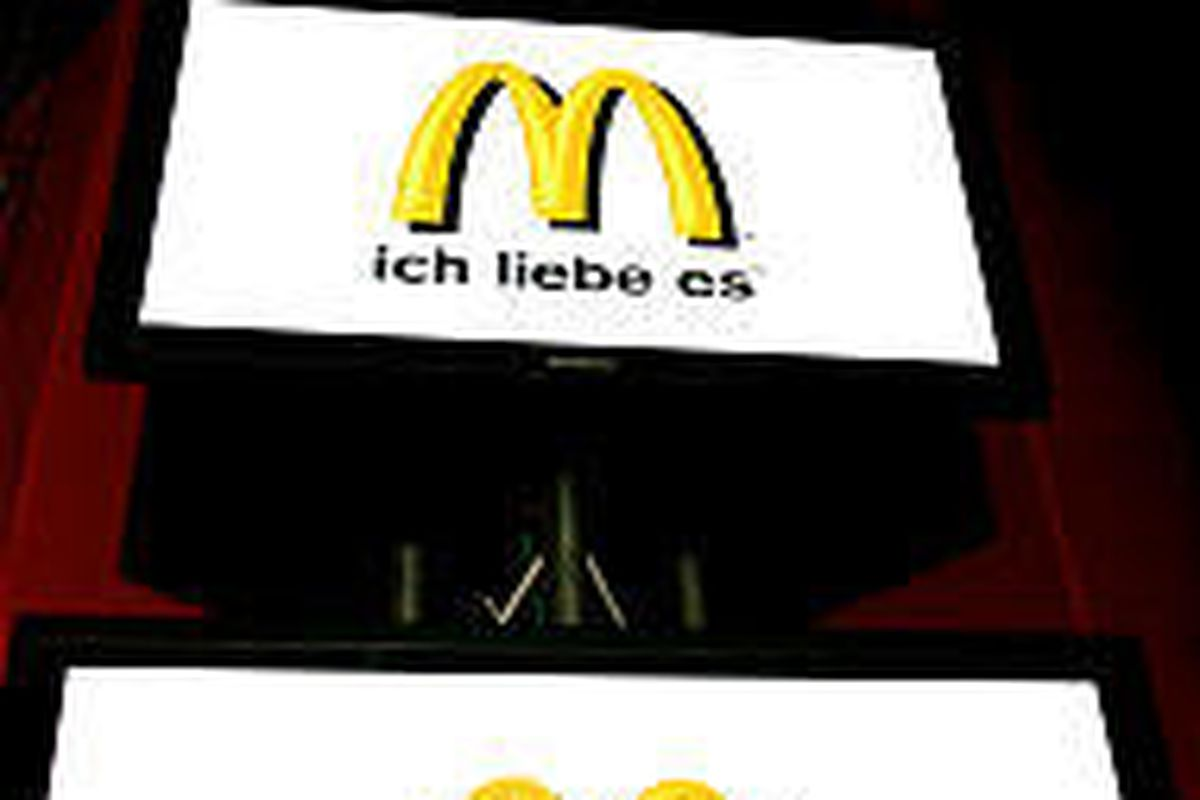 """The new McDonald's logo and German slogan """"ich liebe es"""" is launched in Germany on Tuesday."""