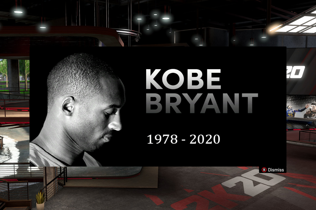 Screenshot showing a memorial image of Kobe Bryant along with the years of his birth and death, 1978-2020, in NBA 2K20