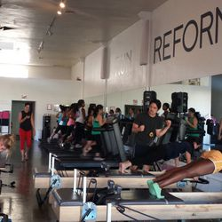 Meanwhile, group two crunched their way to bikini-ready abs on the Pilates Reformer machine.