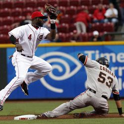 Cincinnati Reds second baseman Brandon Phillips, left, tries to tag out San Francisco Giants' Melky Cabrera who stole second base in the first inning of a baseball game on Wednesday, April 25, 2012, in Cincinnati.