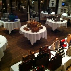 One of the dining rooms was filled entirely with handbags.
