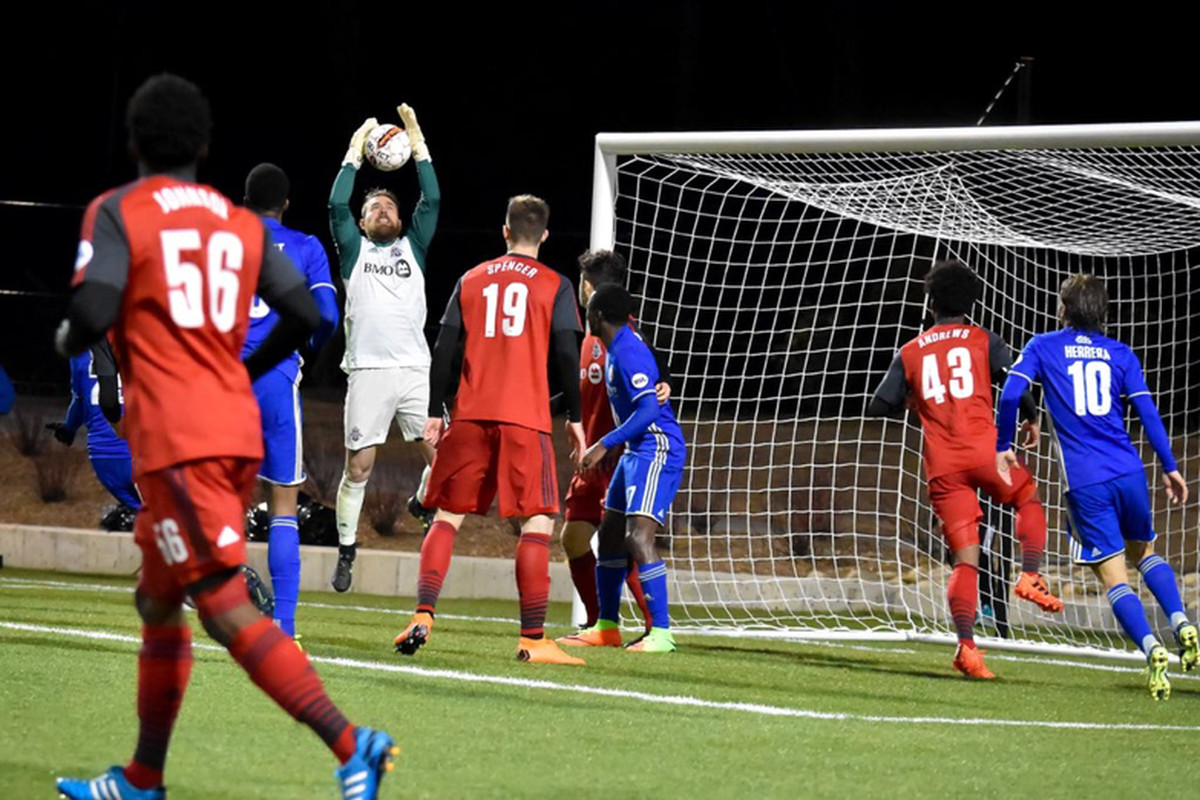 USL Photo - Toronto FC's Caleb Patterson-Sewell catches a Charlotte cross in his debut for the club against the Independence in USL