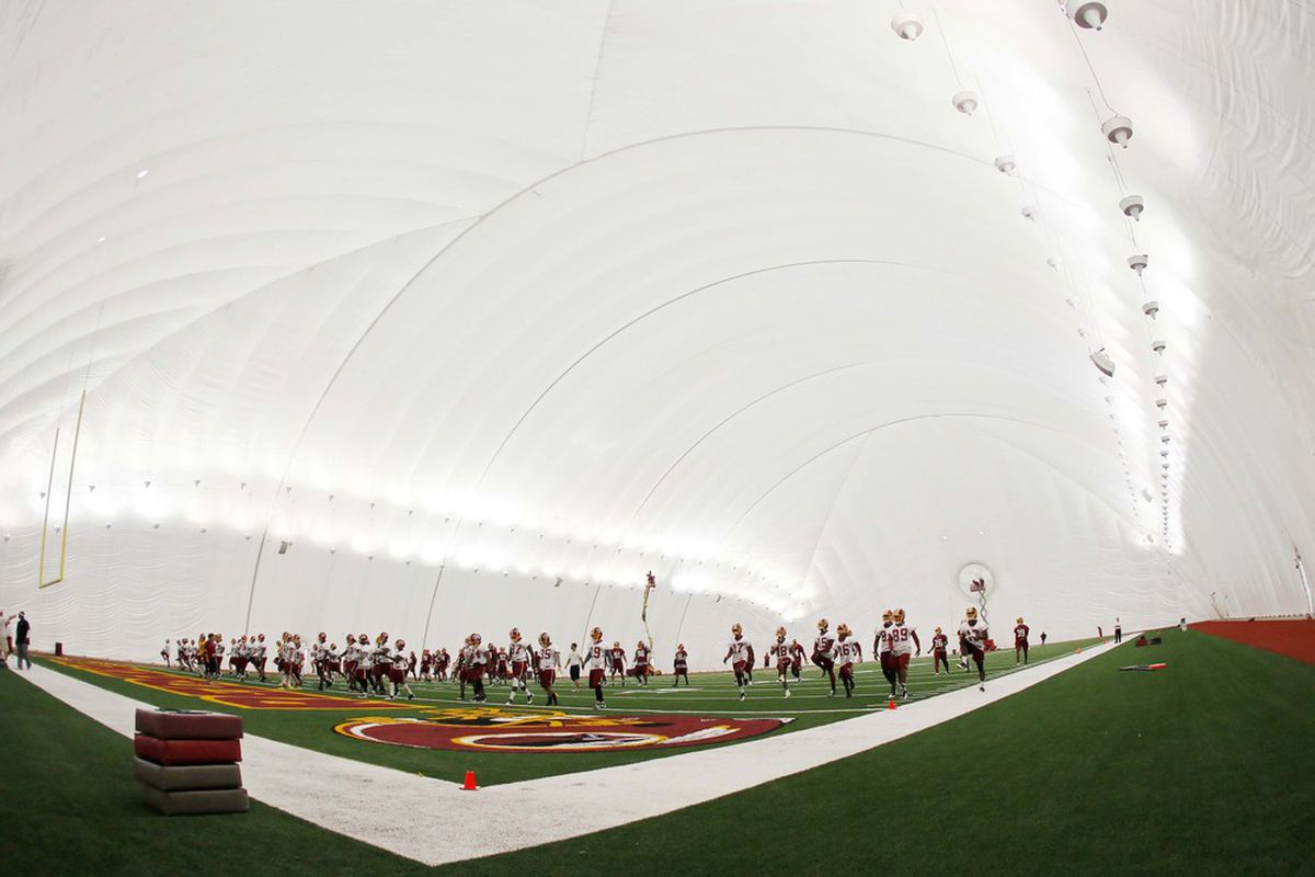 May 21, 2012; Ashburn, VA, USA; A general view of Washington Redskins organized team activity inside their new practice bubble at Redskins Park. Mandatory Credit: Geoff Burke-US PRESSWIRE