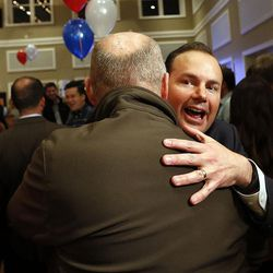 Sen. Mike Lee, R-Utah, hugs supporters after claiming victory in South Jordan on Tuesday, Nov. 8, 2016, in the U.S. Senate race against Misty Snow.