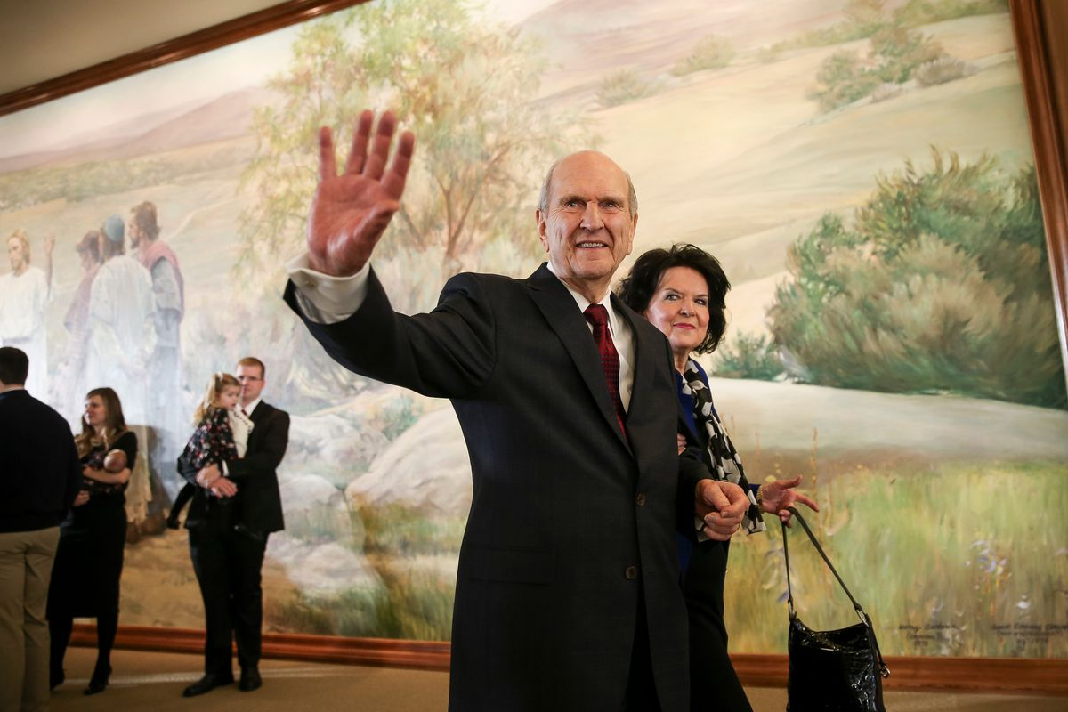 FILE - LDS Church President Russell M. Nelson and his wife, Wendy Nelson, leave after a press conference at the Church Office Building in Salt Lake City on Tuesday, Jan. 16, 2018.
