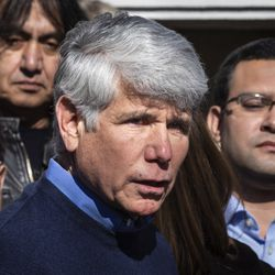 Flanked by family members and supporters, former Illinois Gov. Rod Blagojevich speaks to reporters outside the family's Ravenswood Manor home the day after he was released from a Colorado prison, Wednesday afternoon, Feb. 19, 2020. President Donald Trump on Tuesday commuted Blagojevich's 14-year prison sentence on charges of public corruption.