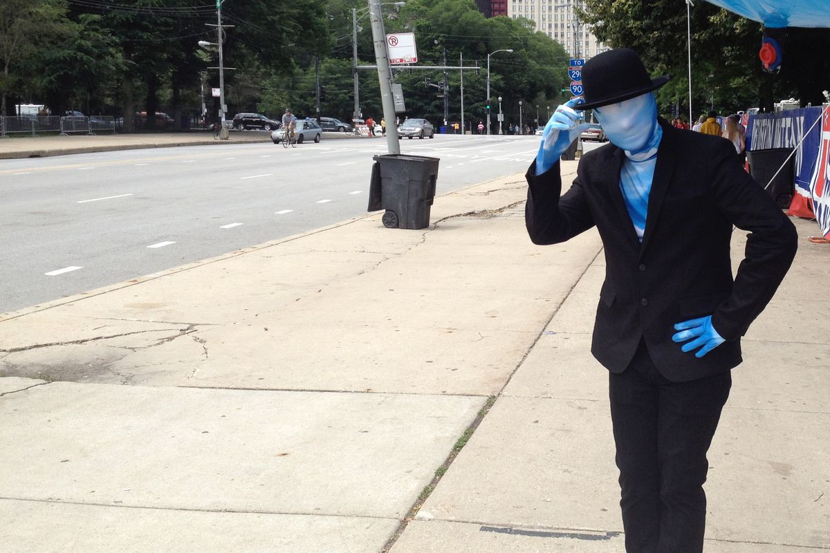 A World Cup celebrant near Grant Park in 2014.