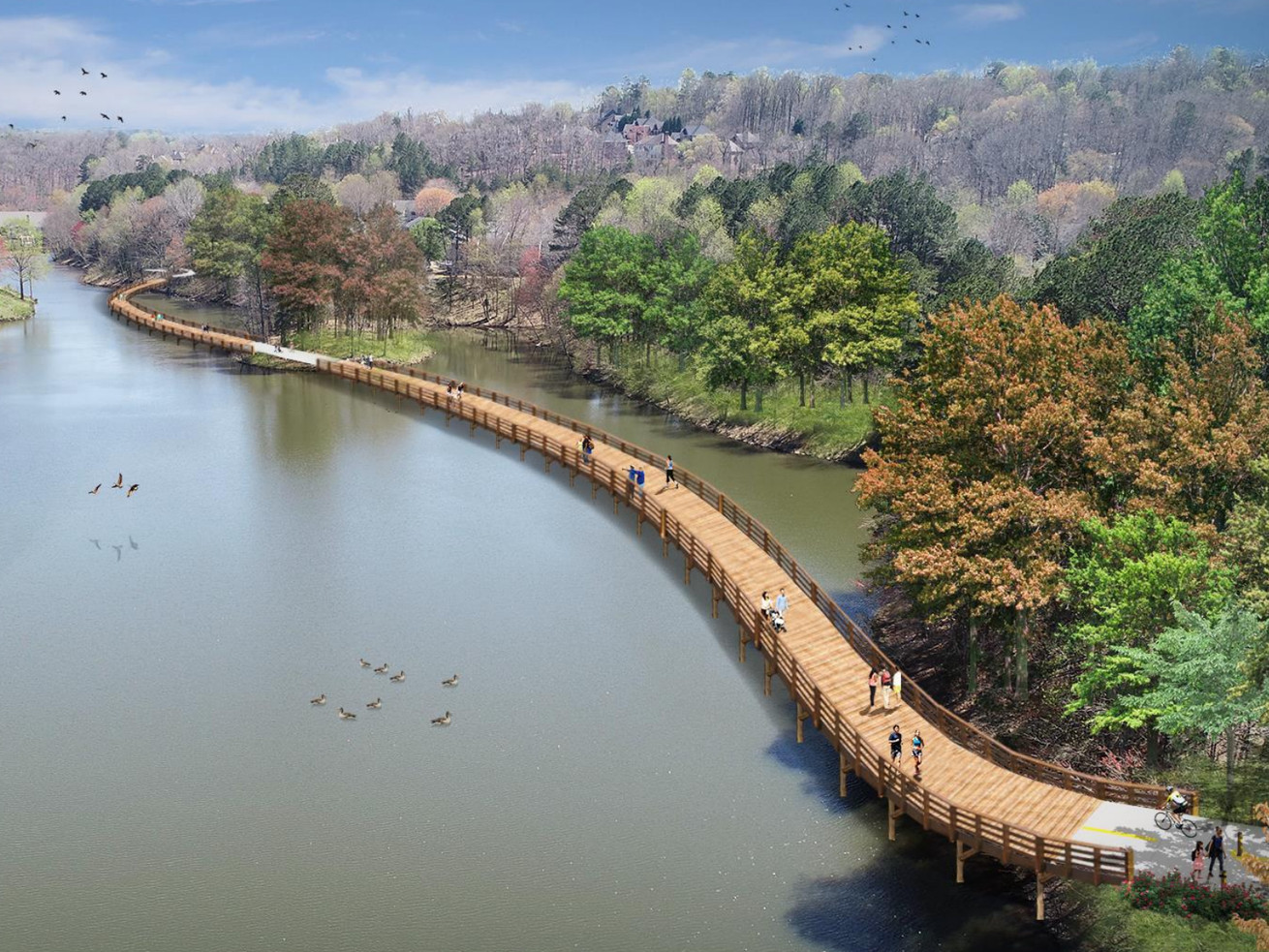 A rendering of a wooden footbridge snaking over a lake.