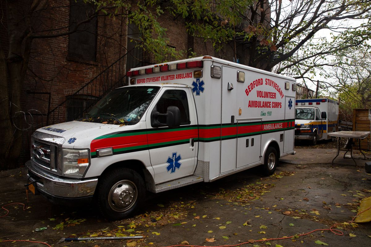 The Bedford-Stuyvesant Volunteer Ambulance Corps serves central Brooklyn from its headquarters on Greene Avenue, Nov. 23, 2020.