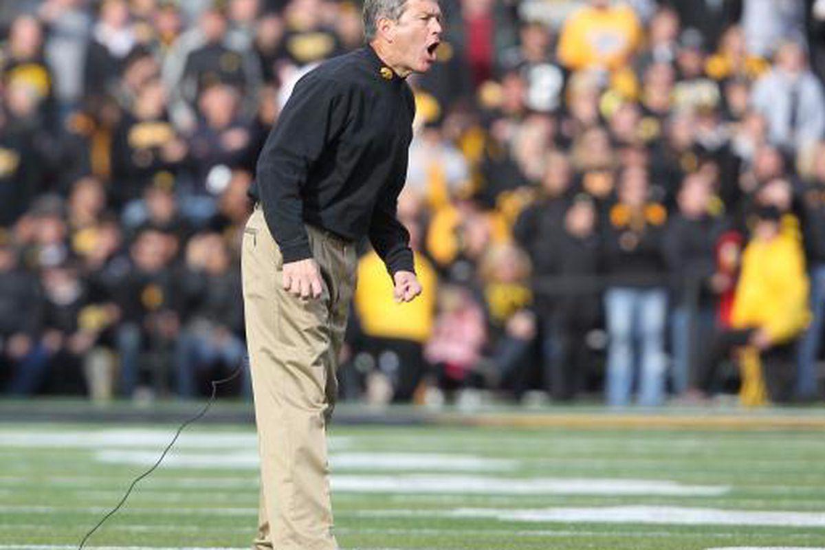 Iowa Head Coach Kirk Ferentz yells at the officials after thrPPPPPPPPFFFFFFFFFTTTTTTTTTT. (clunk clunk clunk) (Brian Ray/ SourceMedia Group News)