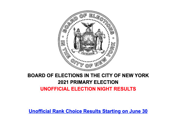 This is what greeted visitors to the cirty Board of Elections site after preliminary results were removed.