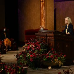 President Bonnie H. Cordon, Young Women general president, conducts the women's session of the 190th Semiannual General Conference of The Church of Jesus Christ of Latter-day Saints on Saturday, Oct. 3, 2020.