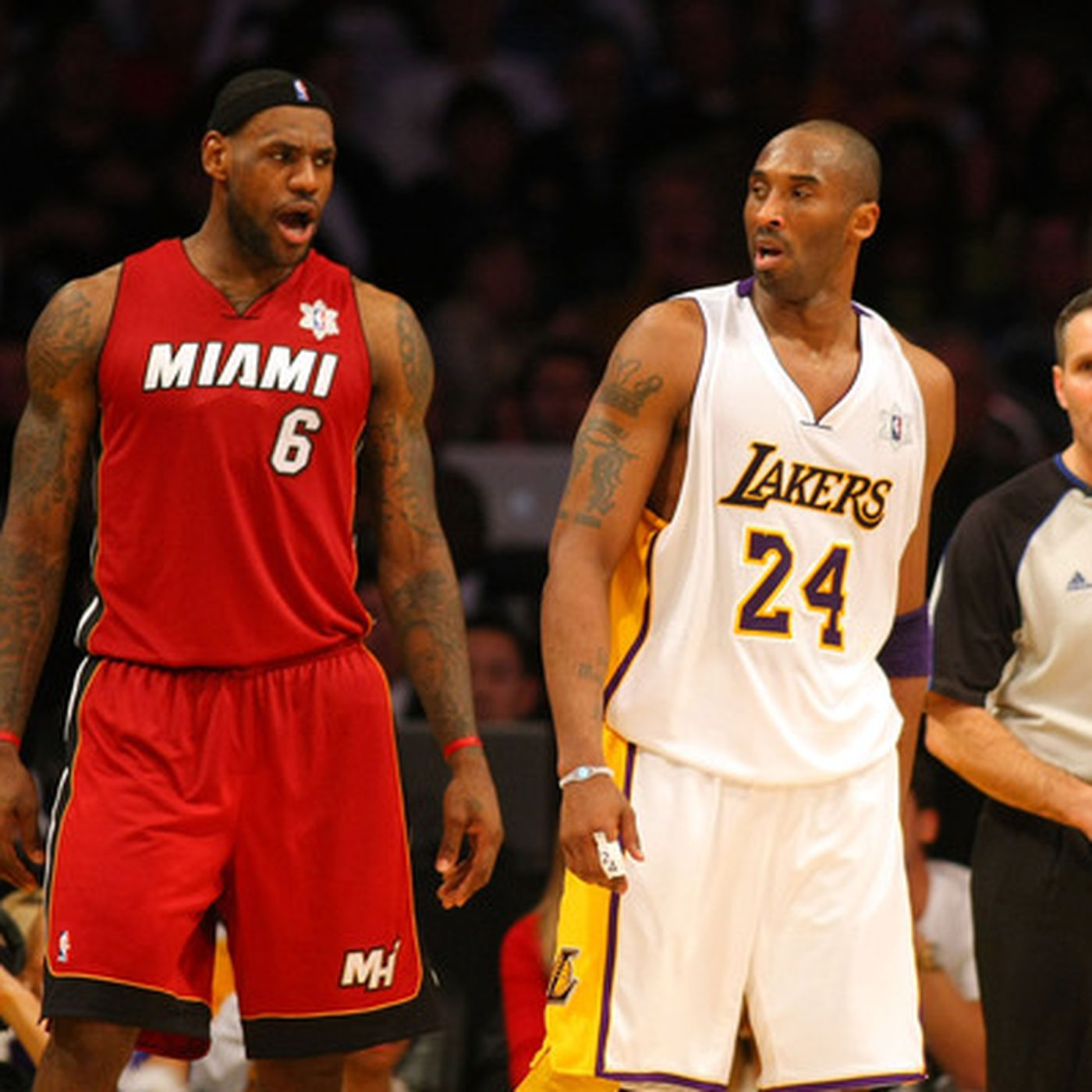 Lakers Vs Heat Kobe Bryant Lebron James Face Off Sbnation Com