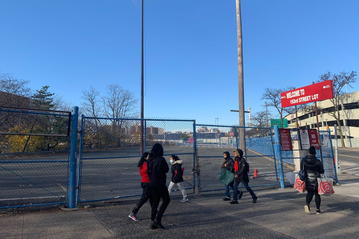 An empty parking lot near Yankee Stadium is used on game days.