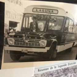 The bus that the team would take to travel, circa 1960.
