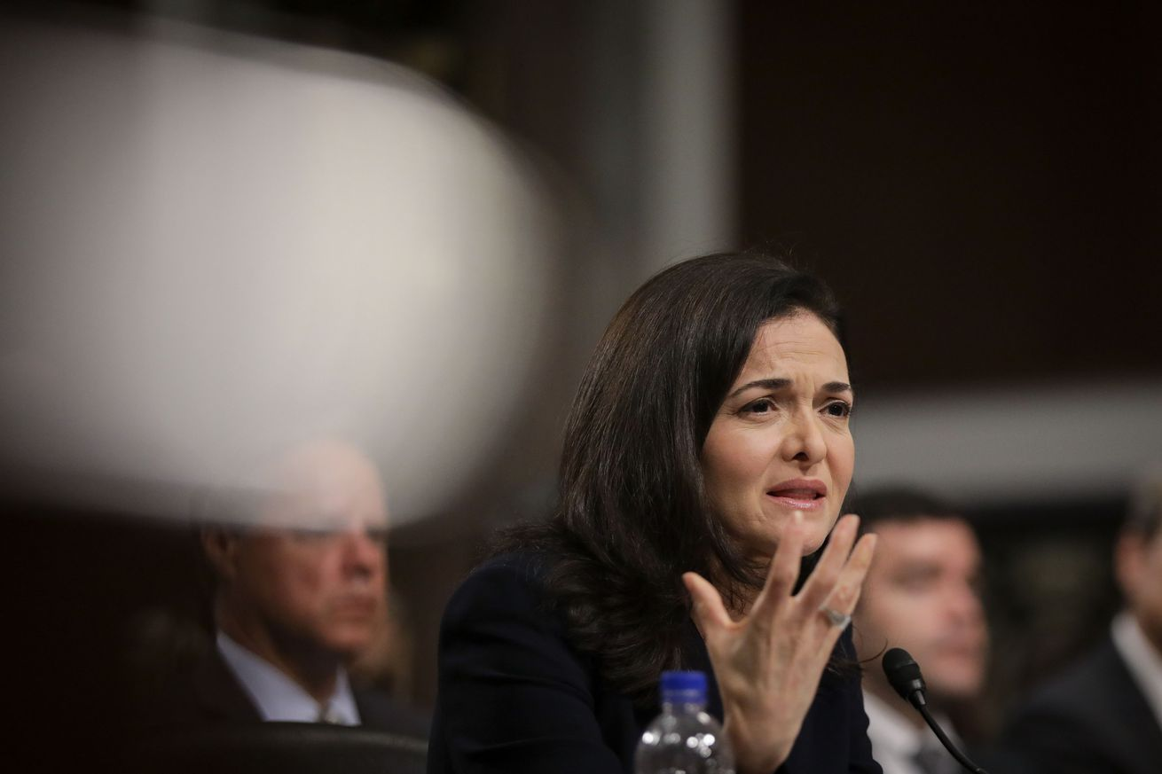 Facebook chief operating officer Sheryl Sandberg testifies during a Senate Intelligence Committee hearing concerning foreign influence operations' use of social media platforms.