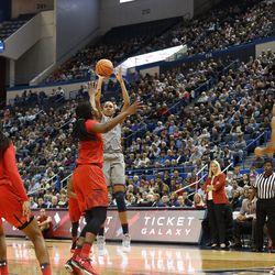 UConn�s Azura Stevens (23) puts up a three-pointer.