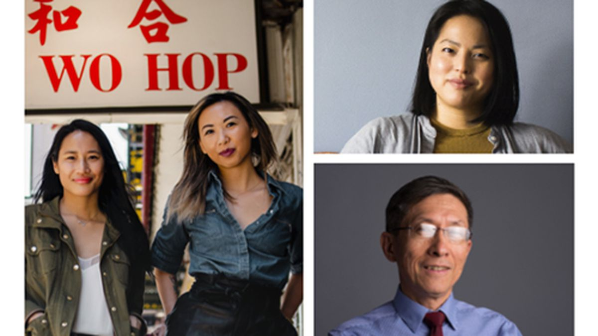Clockwise from top left, panelists for a Smithsonian conversation about Chinatowns include cookbook author Grace Young, chef Brandon Jew, advocate Daphne Wu, advocate Wellington Chen, and organizers Jennifer Tam and Victoria Lee