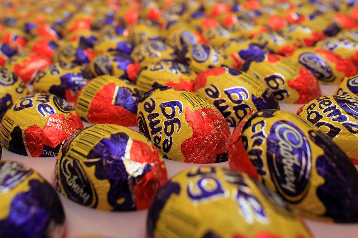 A pile of Cadbury creme eggs