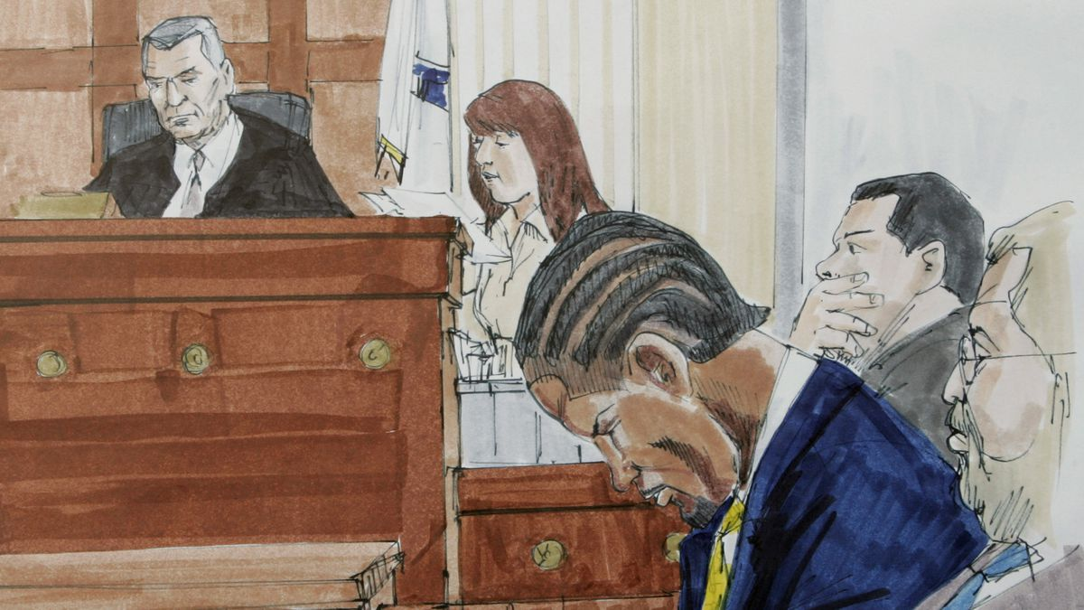 Courtroom sketch shows R&B singer R. Kelly, center, accompanied by his lawyers Sam Adam Jr. and Sam Adam Sr. right, listens to the court clerk read the verdict in his child pornography trial before judge Vincent Gaughan in the Cook County Criminal Court Building Friday, June 13, 2008, in Chicago.