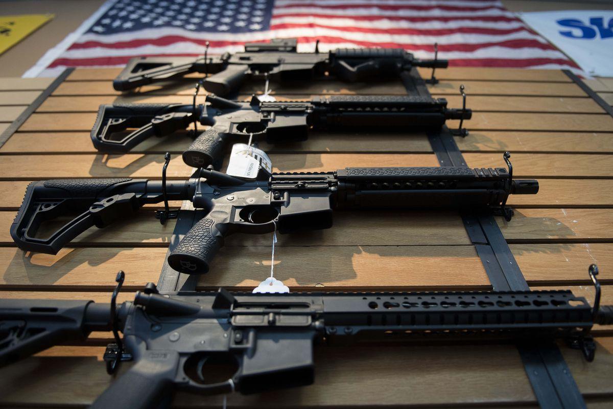 Assault rifles in a Virginia shop.