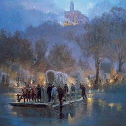 A depiction of members of The Church of Jesus Christ of Latter-day Saints leaving Nauvoo, Illinois.