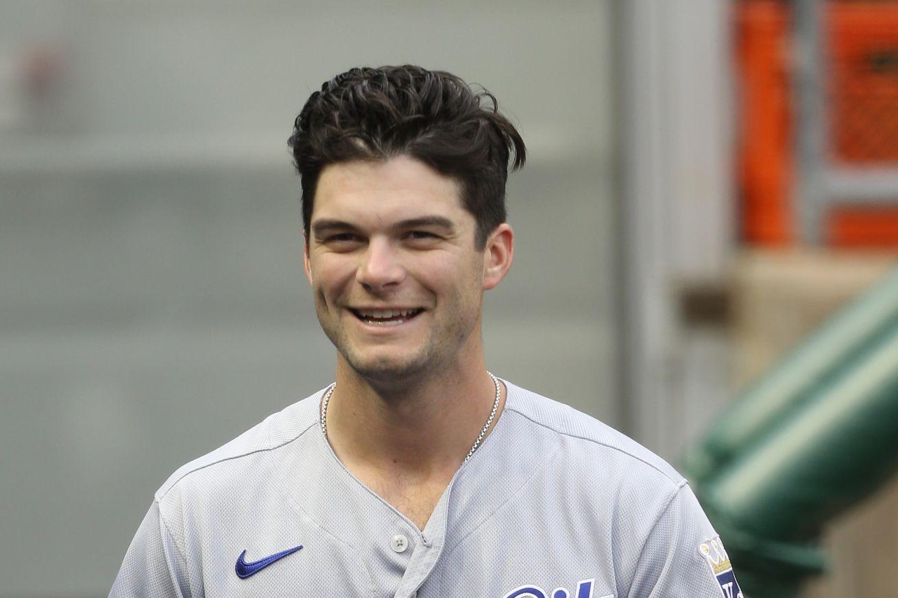 Andrew Benintendi smiles in the dugout