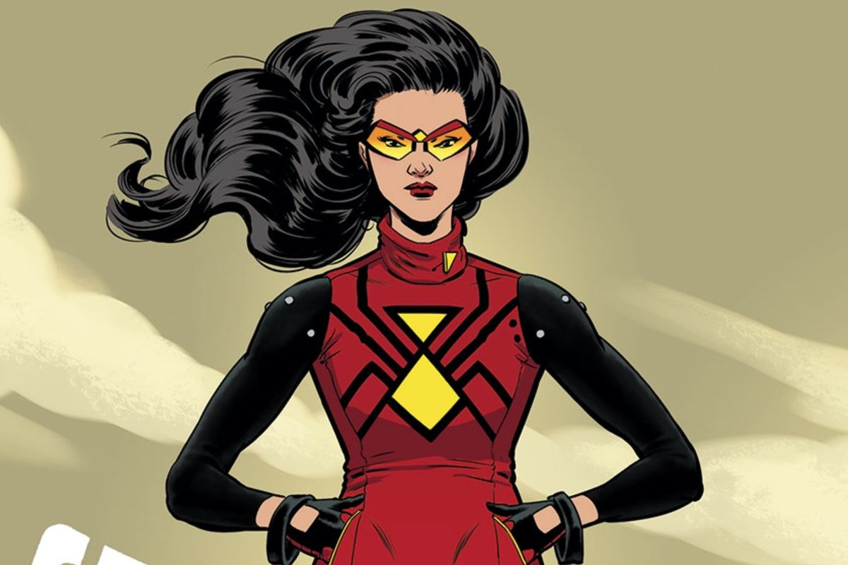 Jessica Drew as Spider-Woman on the cover of Spider-Woman #9, Marvel Comics (2015).