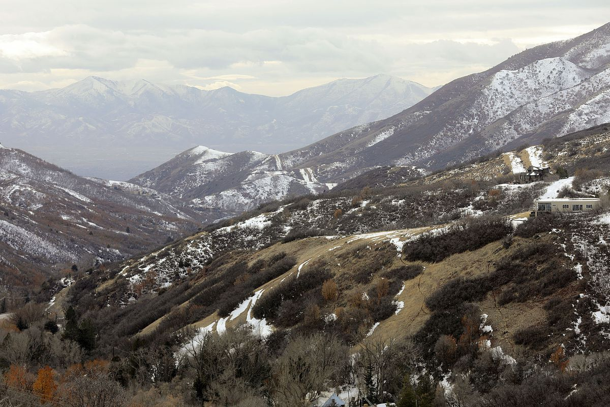 A mix of a shallow snowpack and dry hillsides can be seen in Emigration Canyon on Tuesday, Feb. 9, 2021. With a shallow snowpack, water runoff is expected to be less than normal this year.
