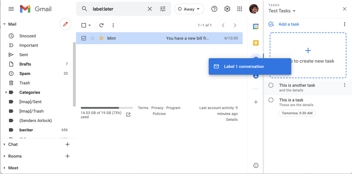 You can drag and drop an email into the Tasks sidebar to add it as a task.