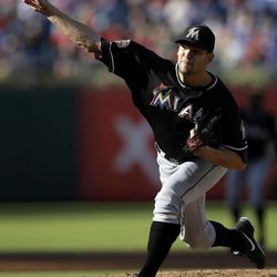 Miami Marlins' Josh Johnson pitches in the second inning of a baseball game against the Philadelphia Phillies, Wednesday, Sept. 12, 2012, in Philadelphia.