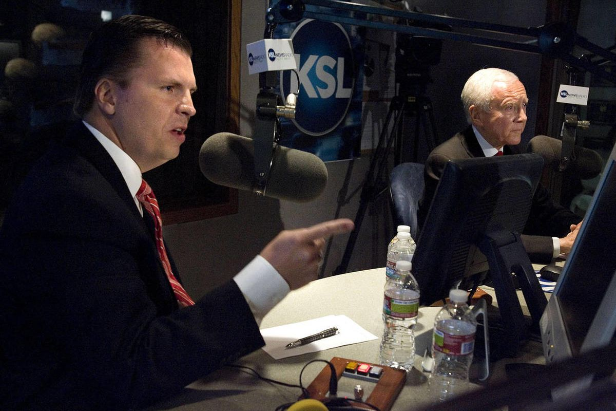 Dan Liljenquist and Utah Sen. Orrin Hatch participate in a debate at KSL in Salt Lake City, Utah,  on Friday, June 15, 2012. A recent poll shows Sen. Hatch having a significant lead over his opponent in Tuesday's GOP primary election.